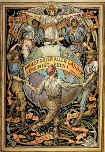 "A German depiction of the famous phrase ""Workers of the World Unite!"" from Marx and Engel's Communist Manifesto (1848)."