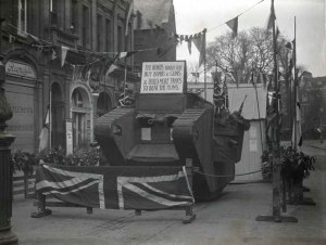 Bedford Circus for Sale of War Bonds – December 1917 A model Tank was used in a procession through the streets of Exeter in December 1917 which became the centrepiece in a campaign to encourage Devonians to buy War Bonds. The title for the card on the tank reads: 'The Bonds Bought Here Buy Bombs & Guns & Build More Tanks To Beat The Huns'.