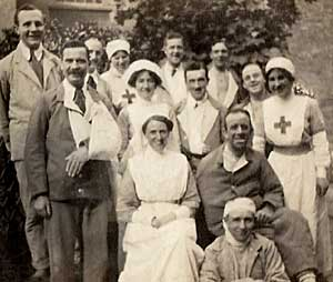 Nurses and wounded soldiers also VA Hospital No 3 circa 1917.