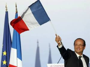 Francois Hollande, Socialist Party president-elect of France, waves to supporters in Toulouse. (Regis Duvignau/courtesy Reuters)