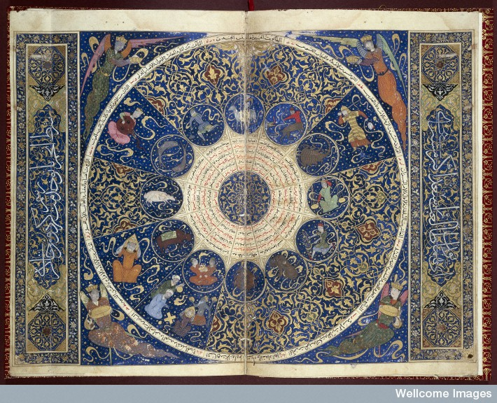 15th-century Persian horoscope from the book of the birth of Iskandar, via the Wellcome Library.