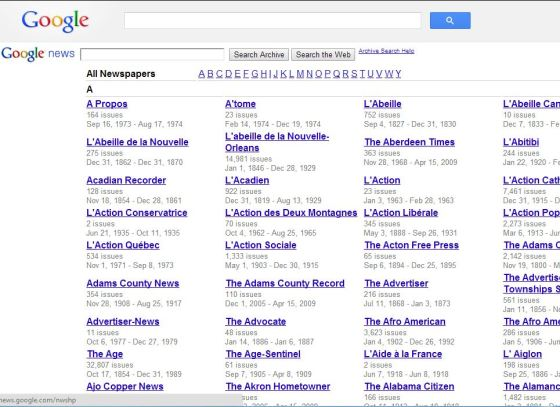 google newspapers