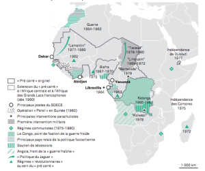 "Map: ""French geopolitics in Africa and Foccart's legacy"" (1960-1991), from Bat's article in Afrique Contemporaine."