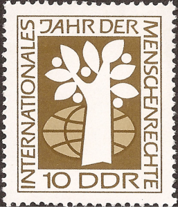 Another stamp commemorating International Human Rights Year 1968. The tree and globe represent the right to life.