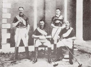 Churchill, second from the right, in polo gear. Bangalore, 1896.