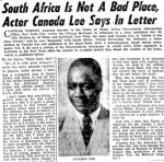 'South Africa Is Not A Bad Place, Actor Canada Lee Says In Letter', Chicago Defender, (02/12/1950), p. 21