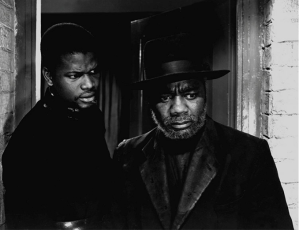 Sidney Poitier (left) as Rev. Msimungu and Canada Lee (right) as Stephen Kumalo in the film version of Cry, the Beloved Country (1952).