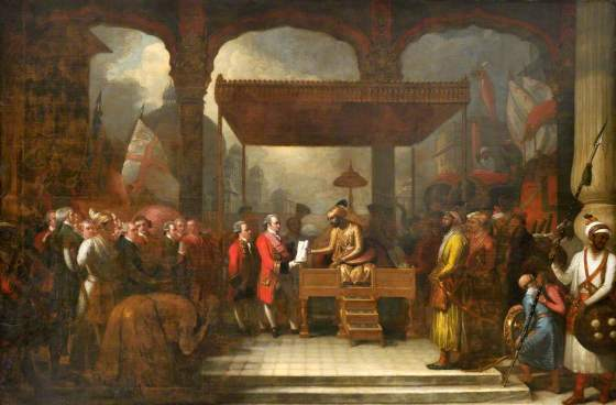 Mughal Emperor, seated, handing the Grant of Diwani to Lord Clive, 1765. © The British Library Board, Foster 29