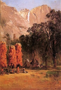 Indian Camp, Yosemite, 1873. By Thomas Hill.
