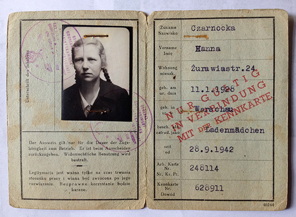 Hanna Czarnocka's German-issued identity papers. History Today.