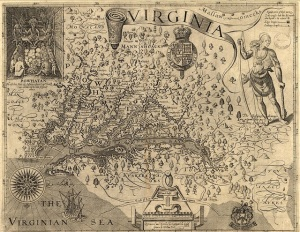 Map of Virginia, discovered and as described by Captain John Smith, 1606; engraved by William Hole (Via Wikimedia commons)
