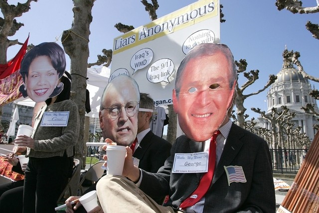 Anti-war demonstrators mock Rice, Cheney and Bush on 3rd anniversary of Iraq invasion. Justin Sullivan, AFP, Getty Images.