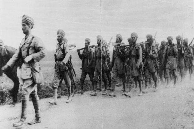 Indian infantrymen in France in October 1914 during WorldWar I. Photo: Hulton Archive/Getty Images