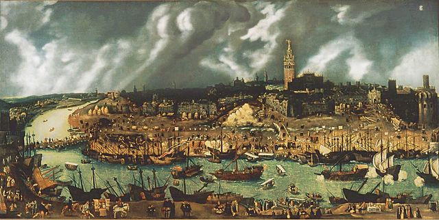Boats-in-the-Puerto-de-Indias-on-the-river-Guadalquivir-in-the-16th-century.-