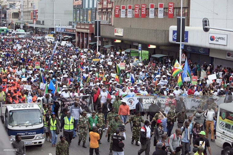 Thousands take part in the 'peace march' against xenophobia, Durban, South Africa, April 16, 2015. STRINGER/AFP/Getty Images.