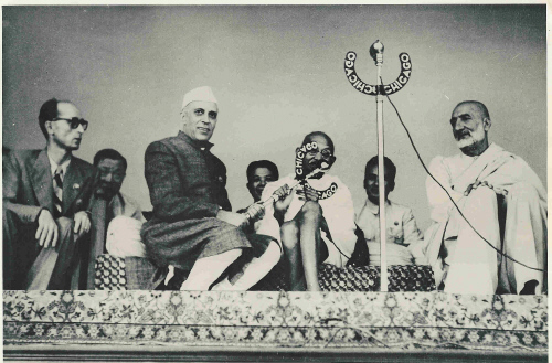 Mahatma Gandhi with Pt. Nehru and Khan Abdul Ghaffar Khan at the Asian Relations Conference in New Delhi, April, 1948. Press Information Bureau.