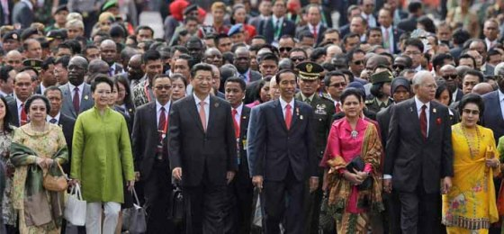 World leaders, including 22 Heads of State, marching to relive a 60-year old historical conference on human rights, sovereignty and world peace, April 2015, Bandung, Indonesia.