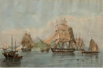 """Opium ships at Lintin in China, 1824,"" by William John Huggins, 1828. Courtesy of Peabody Essex Museum."