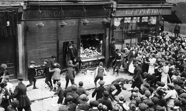 "Rioters attack ""German"" shops, Crisp Street, Poplar, London, May 1915. Photograph: Alamy"