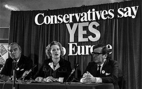 Margaret Thatcher,  William Whitelaw and Peter Kirk, at a referendum conference. June 1975. Photo: Keystone/Getty Images