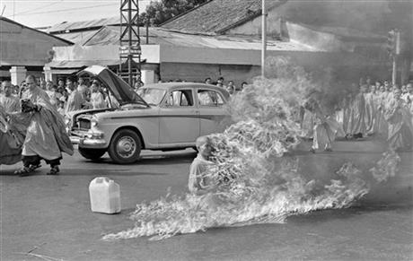 Thich Quang Duc, a Buddhist monk, sets himself on fire and burns to death, Saigon, Vietnam, June 11, 1963.