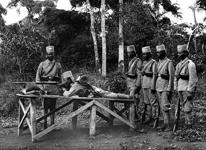 Photo of Askaris (local soldiers) during shooting practice in German East Africa (now Tanzania)