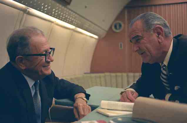 Allen Ellender meeting with President Lyndon Johnson. When Ellender offered to arrange for a private screening of the film documenting his 1963 African tour, the president politely declined. Image courtesy of LBJ Foundation.