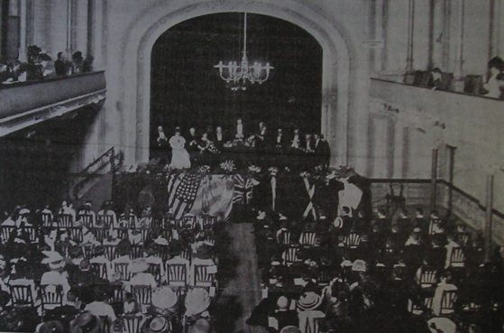 PRIZE GIVING. Victoria Hall 1909. Second Prize Giving ceremony of the new school. The theatre was a gift of the British colony in Uruguay to Victoria on her Diamond Jubilee, but was inaugurated long after she had passed away. Constantly in financial problems it was always a problem for the community.