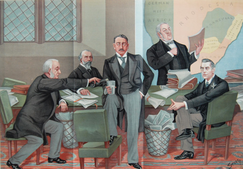 Empire makers and breakers' - Vanity Fair illustration of the House of Commons inquiry into the Jameson Raid, Nov. 1897. Sir William Harcourt (second from right) sought to use the Raid to attack the position of Cecil Rhodes (centre).