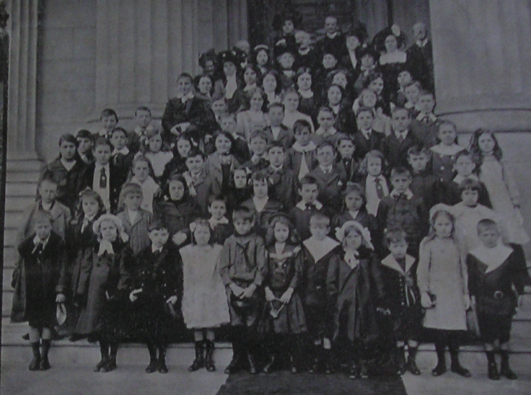 SUNDAY SCHOOL. Holy Trinity Church 1905. The Church was a gift of Samuel Lafone to the British community. Inaugurated in mid 19th century it was a total success until Montevideo grew and expanded and the church building ended up being surrounded by worst part of the city. At the top of the picture is reverend Allpass who would be in charge of enrolling the first British Schools Headmaster in England and would loose two sons during the Great War.