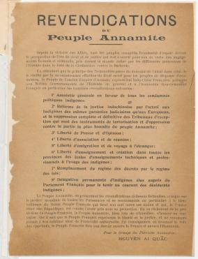 """Demands of the Annamite People"": Addressed to Woodrow Wilson's Secretary of State, Robert Lansing, the document is sometimes taken as the birth certificate of Vietnamese nationalism, but it stopped short of demanding national sovereignty for Vietnam"
