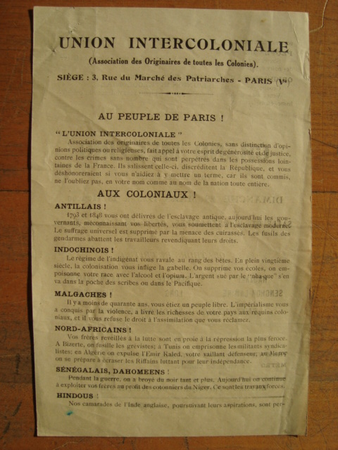 Flyer of the Intercolonial Union, 1925. Like many such flyers, this one had a multinational audience, but by addressing them as separate nationalities, it reinforced the notion of a world divided into structurally symmetric nations.
