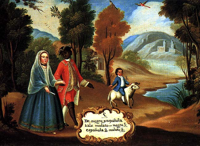 """De negro é española sale mulato"" (A Black Man and a Spanish Woman Produce a Mulatto). Pintura de castas, ca. 1780."