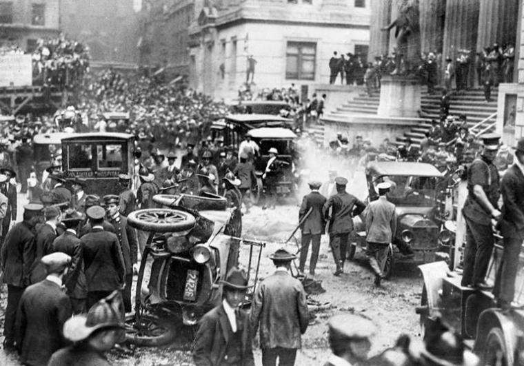 Aftermath of the Wall Street explosion in 1920. Source: Getty