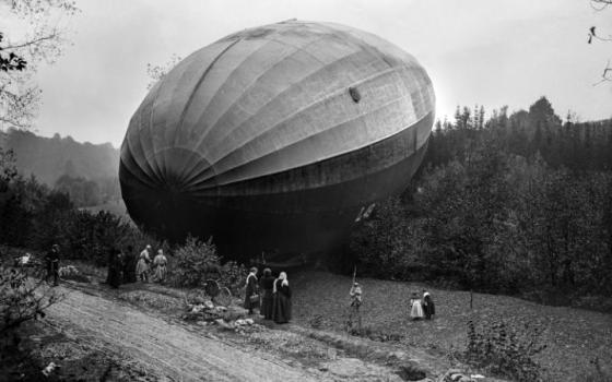GERMAN ZEPPELIN LOST ABOVE FRENCH TERRITORY, 1917, BY ALBERT MOREAU CREDIT: ECPAD/ FRANCE/ ALBERT MOREAU. 'The Great War as Never Seen Before', Telegraph.
