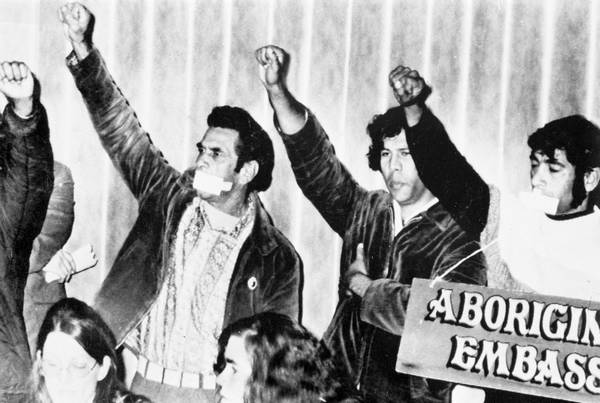 The Black Power salute given by Chicka Dixon, Paul Coe and Bob McLeod Source: Audio Visual Archive, Australian Institute of Aboriginal and Torres Strait Islander Studies, Canberra. Courtesy of the National Museum Australia website.