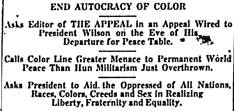 "John Q. Adams, ""End Autocracy of Color,"" The Appeal, 4 January 1919."