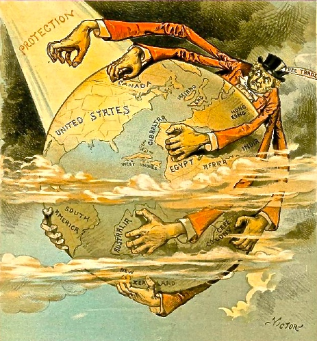 """Free Trade England Wants the Earth."" Pro-Republican Judge Magazine depicts US protectionism shielding the country from the British free trade spider's grasp, 27 Oct. 1888."