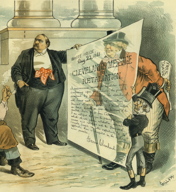 """Too Thin!"" Judge insinuates that John Bull, holding a free-trade bill behind his back, hides behind Cleveland's transparent message of retaliation over the Canadian fisheries dispute. Judge, 15 Sept. 1888."