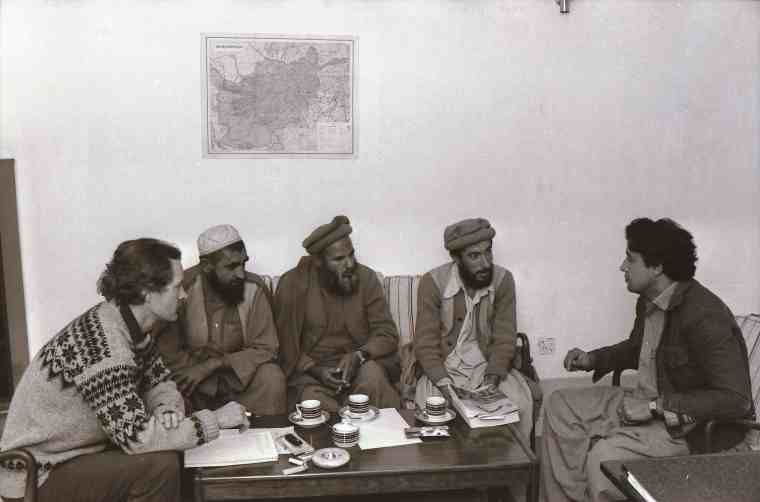 Anders Fange (to the left), the Swedish Committee for Afghanistan (SCA) representative in the SCA office in Peshawar in Pakistan. He is in a meeting with representatives (in the sofa) of a mujahidin front in Afghanistan in need of medical support. By the late 1970s, European activists who formerly sympathized with left-wing Third World regimes in the name of anti-imperialism allied with Islamist militias to challenge the Soviet Union and the Afghan socialist government in Kabul.