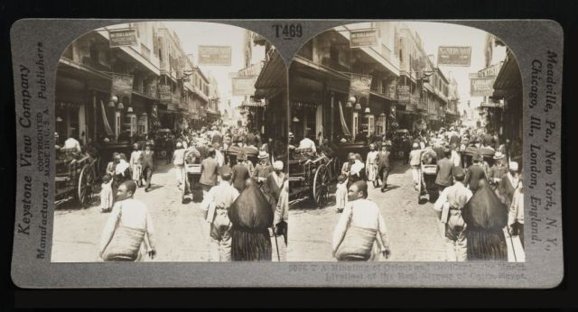 "Stereograph from 1908 with the title ""Mingling of Orient and Occident — the Muski, Liveliest of the Real Streets of Cairo, Egypt"", from the Travelers in the Middle East Archive: http://scholarship.rice.edu/handle/1911/5570"