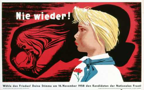 Never Again! East German National Front election poster 1958.