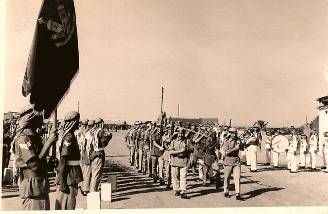 A parade of the Trucial Oman Scouts in the early 1960s. The Trucial Oman Scouts were a security force under direct British control designed to preserve law and order in the Trucial shaikhdoms (today's United Arab Emirates)