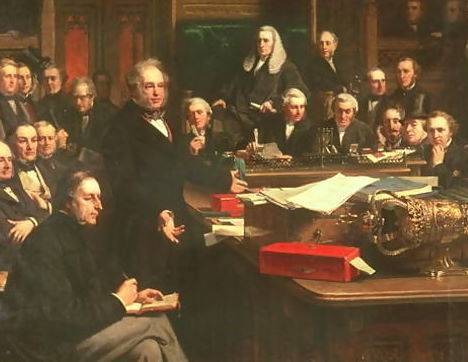 Lord Palmerston Addressing the House of Commons During the Debates on the Cobden–Chevalier Treaty in February 1860, as painted by John Phillip (1863).