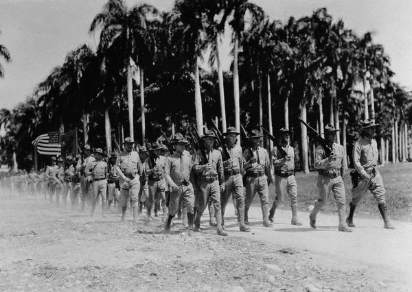 U.S. Marines marching in Haiti, 1934 (Photo: Bettmann/Corbin)