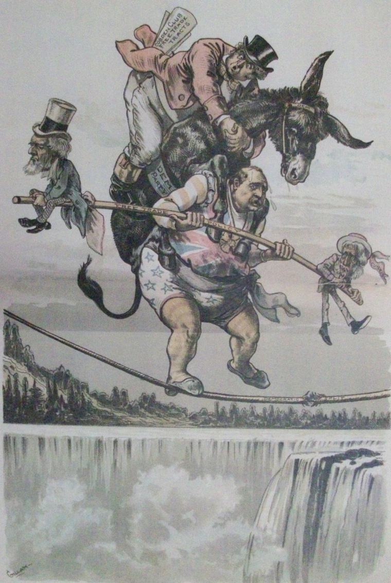 """Cleveland Will Have a Walk-Over."" Republican magazine Judge depicts Grover Cleveland balancing precariously on a fraying rope, holding a balancing pole labeled ""Free Trade Policy"" and carrying the Democratic Party donkey and John Bull on his back. John Bull's back pocket is stuffed with ""Cobden Club Free Trade Tracts."" Judge, 25 Aug. 1888."