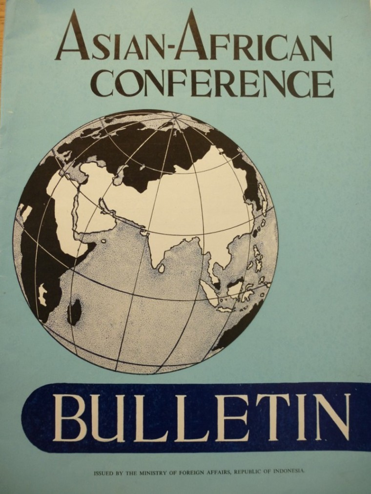 Copy of the Asian-African Conference Bulletin held at the Foreign Affairs Archives in Belgium. The Indonesian government produced a Bulletin on the Bandung Conference, intended to bolster its prestige, 1955.