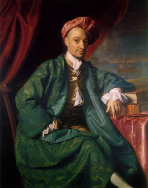 Nicholas Boylston, a wealthy Boston merchant, wearing a green banyan and Indian-style cap by John Singleton Copley. 1767. Harvard University. Wikipedia Commons.