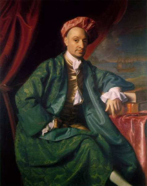 Nicholas Boylston, a wealthy Boston merchant, wearing a green banyan and Indian-style cap by John Singleton Copley. 1767. Harvard University. Wikipedia Commons.