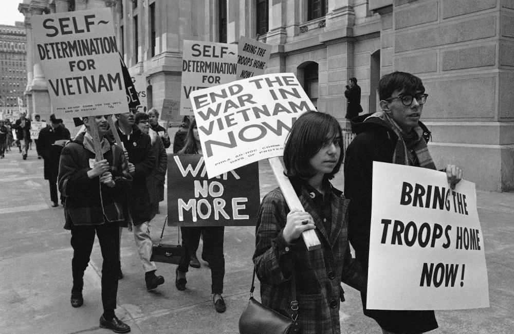 Peace activists march in protest against the Vietnam War in 1968. (AP Photo/Bill Ingraham)